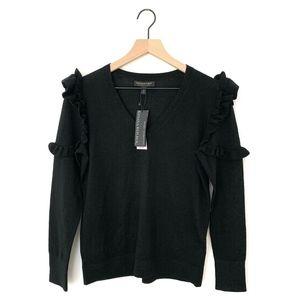 Banana Republic Black Merino Wool Ruffle Sweater